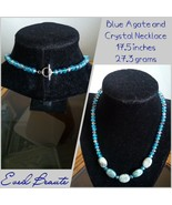 Blue Agate and Crystal Necklace - New - $20.00