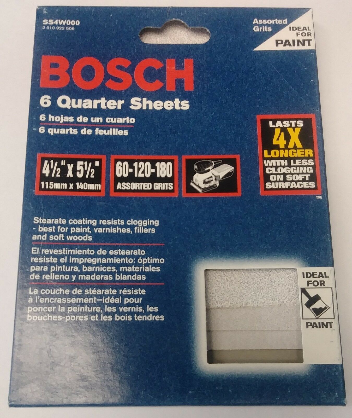 "Bosch SS4W000 60-120-180 Assorted Grits 4-1/2"" x 5-1/2"" Sanding Sheets (6 Discs) - $3.96"