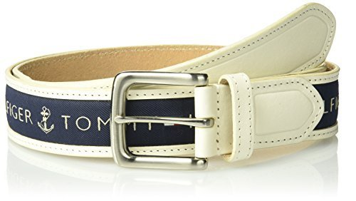 Tommy Hilfiger Men's Men's Ribbon Inlay Belt, cream/medium navy, 32