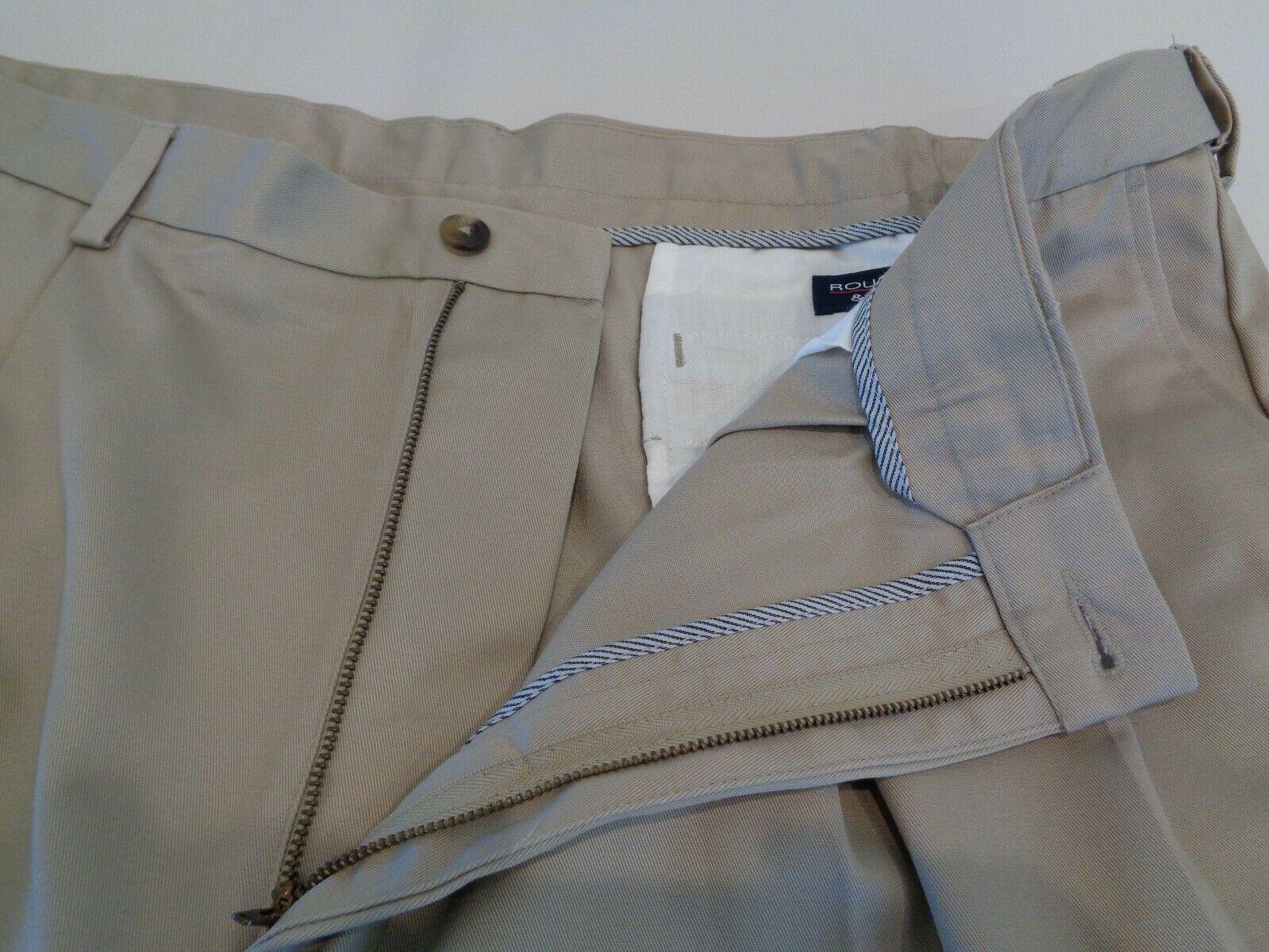Roundtree & Yorke Size 46 EXPANDER WAIST Khaki Cotton Pleated New Mens Shorts