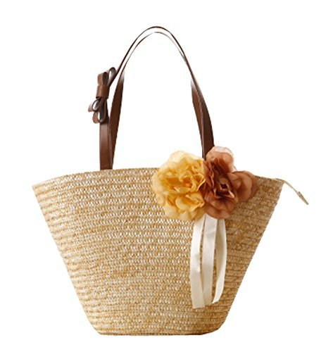 Chic Flower Straw Bag Large Capacity Summer Beach Tote Bag, Beige