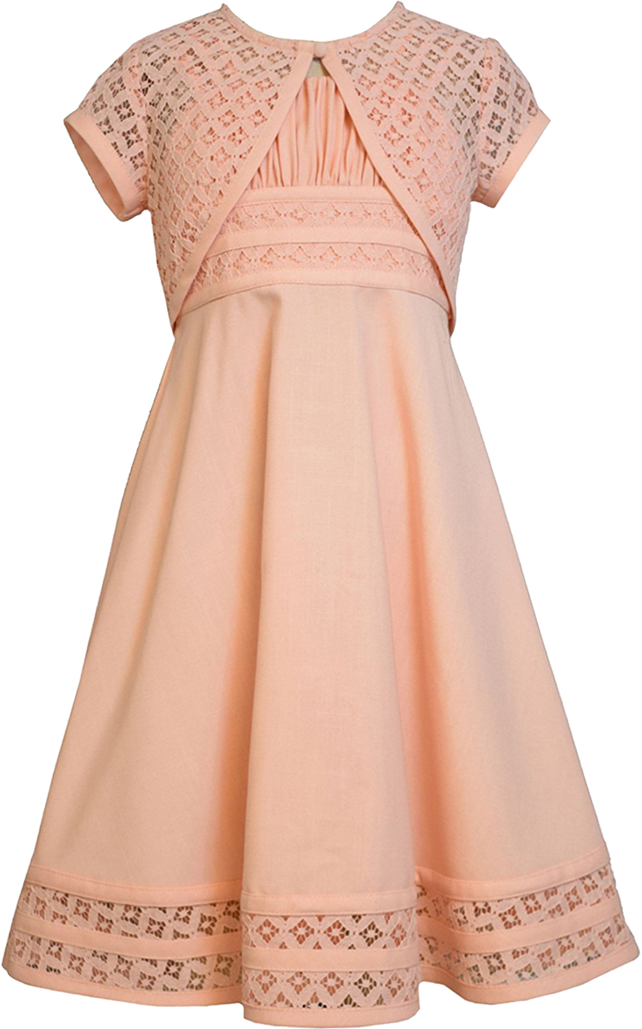 Bonnie Jean Big Girl Tween 7 16 Peach Linen And Lace Fit