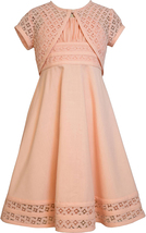 Bonnie Jean Big Girl Tween 7-16 Peach Linen and Lace Fit Flare Dress/Jacket Set