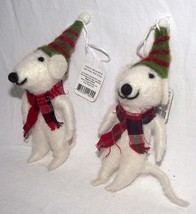 Mouse Ornament Christmas Scarf Mice Rat Hat Whimsical White Primitive Ho... - $16.73