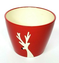 "Reindeer Tall Display Bowl Dish Christmas Red & White 7"" Candy Decor Par... - $12.60"