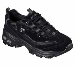 Skechers Wide Fit Black Dlites Shoe Women Sport Comfort Casual Memory Fo... - $56.99