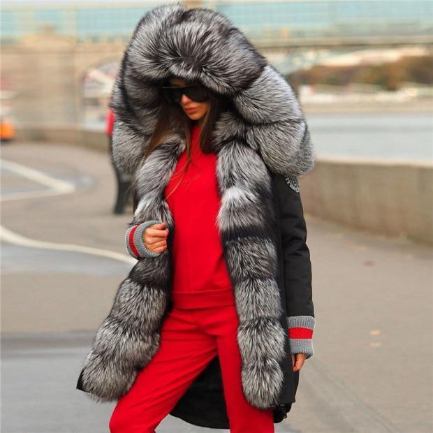 Top quality 2020 thicken parka women coats luxurious large fur collar hooded coat warm fox fur