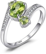 JewelryPalace 925 Sterling Silver 1.1ct Natural Green Peridot 3 Stone R... - $51.07