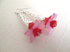 New! Handmade Red & Pink Acrylic Flower Bloom Long Silver Tone Earrings. - $6.65