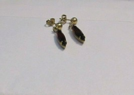 Vintage Faux Amethyst Drop Dangle Earrings Pierced 31460 Purple Lilac La... - $17.81