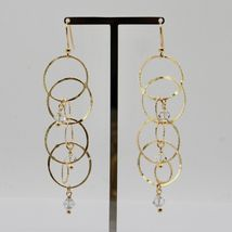 EARRINGS HANGING 925 SILVER LAMINA GOLD CIRCLES BY MARY JANE IELPO MADE IN ITALY image 3