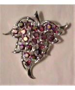 Vintage Sarah Coventry Brooch Cranberry Sparkling Stones - $33.95