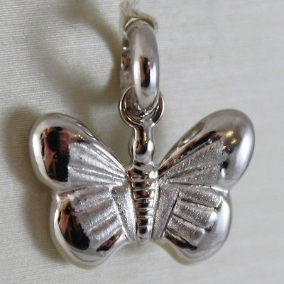 18K WHITE GOLD MINI BUTTERFLY CHARM SATIN PENDANT 0.71 INCHES MADE IN ITALY