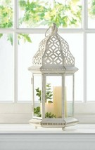 "Vintage Style Candle Lantern Distressed White w/ Cutout Flourishes 16"" High - $29.65"