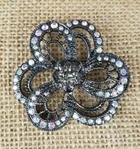 Vintage crystal clear rhinestone floral filigree pendent brooch silver tone - $14.36