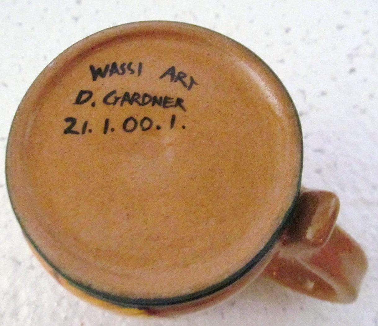 2001 Wassi Art Jamaica Handmade & Painted Ceramic Mug Dwayne Gardner