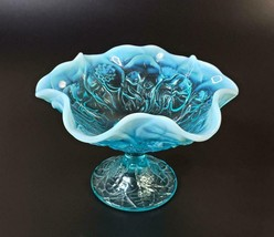 Fenton Water Lily Aqua Opalescent Compote Comport Hard to Find  FREE SHIP - $65.00