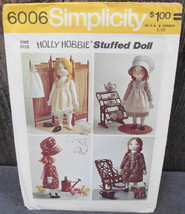 Simplicity 6001 HOLLY HOBBIE Rag Doll And Wardrobe 1973 Sewing Pattern* - $18.00