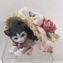 San Francisco Music Box Company Tuxedo Cat Kitty under a Floral Hat 1994... - $21.03