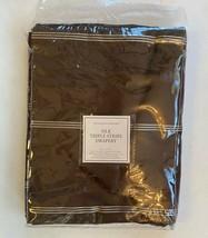 "Restoration Hardware Silk Triple Stripe Drapery 50"" x 84"" Coffee NEW Rod Pocket - $76.23"