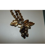 Rare Napier Grape Cluster & Leaves Charm Bracelet with Brown Lucite Beads - $129.99