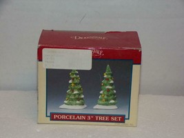 """Dept 56 LEMAX - DICKENSVALE -COLLECTIBLES -"""" TWO 3"""" PORCELAIN TREES""""- - $5.88"""