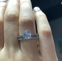 2.35Ct Round White Diamond Engagement Wedding Bridal Ring Set in 14K Whi... - £226.51 GBP