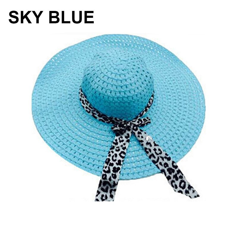 NEW 2019 Bowknot Flat Straw Beach Hat Women Floppy Fashion Lady Fold Wide Brim D image 5