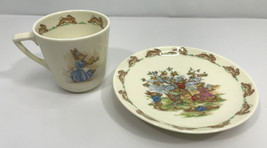 1936 Royal Doulton Fine China Bunnykins Cup & Saucer w/ Bunny Scenes - $19.75