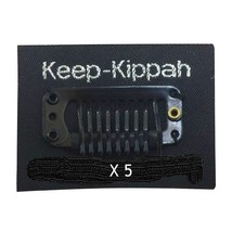 Judaica 5 X Kippah Pins Keep-Kippah Clip w Sticker 5 Units Black Israel