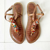 Sam Edelman Gabrielle Leather Beaded Embellished T-Strap Thong Sandal Sh... - $34.40
