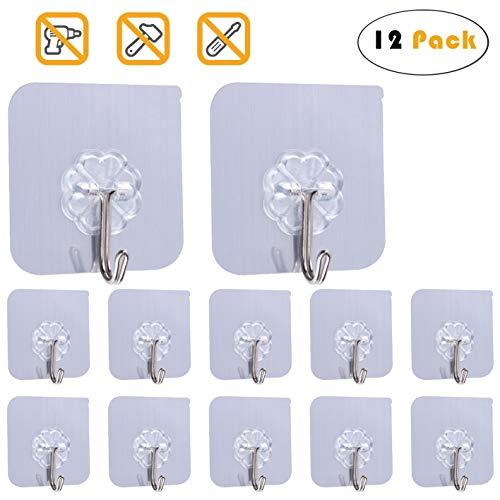 Adhesive Hook Heavy Duty Wall Hook for Ceiling Reusable Hanger for Bathroom Stic
