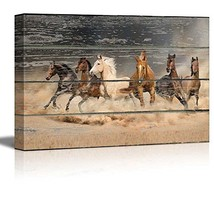 "wall26 - Canvas Wall Art - Galloping Horses on Vintage (24"" x 36""