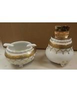 Vintage gold & white porcelain table Lighter ashtray smoke set antique s... - $79.99