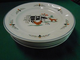 Great Collectible Oneida Stoneware Farm Friends 4 BREAD-SALAD-DESSERT Plates - $17.04