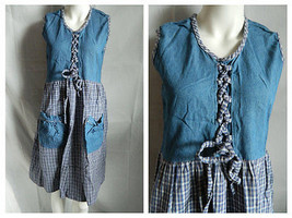 Vintage Country Style Denim Jean & Plaid  Jumper Dress Size Medium  - $15.16