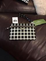 New Kate Spade Tinie Laurel Way Printed Check Black White Wristlet $119 Bag - $50.48