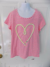 Cherokee Pink Stripped Short Sleeve Shirt W/Rope Heart Size L (10/12) Girl's - $17.80
