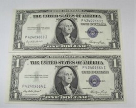 1935E $1 Silver Certificates 2 Consecutive GEM Crisp UNC PC-505 - $33.80