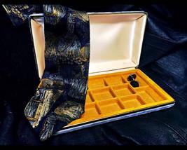 1950's Men's Velvet Lined Jewelry Box , Vintage Rockabilly / Hipster Lea... - €22,55 EUR