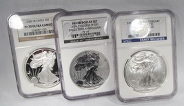 2006/11 American Silver Eagle 3 Coin Set NGC MS70 PF70 PF64 AG907 - $381.99