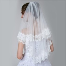 New Arrival White Two Layers Lace Wedding Veils With Comb ,Bridal Veils ... - $25.66