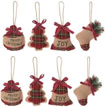 Christmas Tree Ornaments Stocking Decorations 8 pcs Christmas Plaid Burlap - $25.08