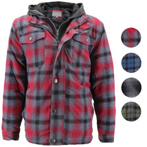 vkwear Men's Quilted Lined Cotton Plaid Flannel Layered Zip Up Hoodie Jacket