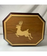 The Bombay Co Music Box Christmas Inlaid Wood Reindeer The First Noel 1996 - $9.89