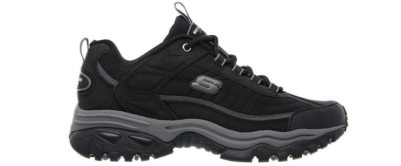 Skechers EW Wide Width Black shoes Men's Sport Casual Soft Leather Sneaker 50172