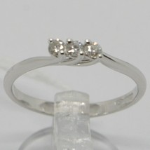 White Gold Ring 750 18K, Trilogy with Diamonds Carat 0.12, Made in Italy image 2