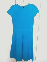 TALBOTS LADIES SS RAYON/NYLON KNIT TURQUOISE BLUE DRESS-SP-NWOT-CUTE/COM... - $13.99