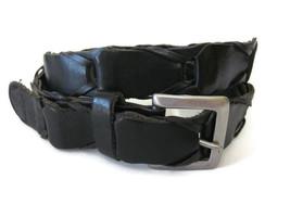 Gap Womens Black Leather Link Belt Brushed Nickel Hardware  - $16.78