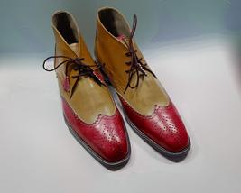 Handmade Men Red & Beige High Ankle Lace Up Wing Tip Brogues Leather Boots image 4